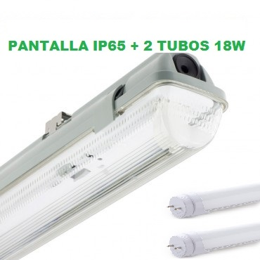 PANTALLA ESTANCA LED 2X18W IP65 + 2 TUBOS LED 120CM 18W OPAL